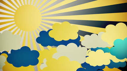 Abstract sunburst in yellow with clouds