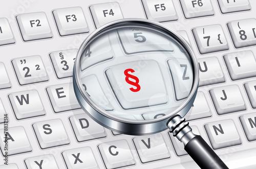 Leinwanddruck Bild Lupe mit Tastatur und Paragraph - Symbol