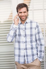 Happy man on a phone call