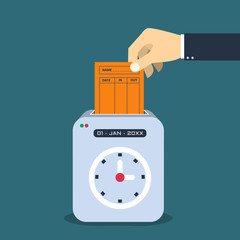 Hand putting  paper card in time recorder machine