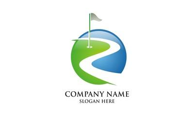 Green grass golf field icon logo vector