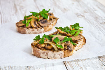 Sandwich with fried mushrooms