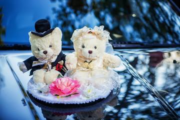 Classic teddy bear gentleman and his bride