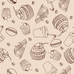 coffee seamless pattern with desserts and drinks