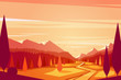 Sunset landscape. Vector illustration. - 78838525