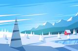 Fototapety Winter landscape. Vector illustration.