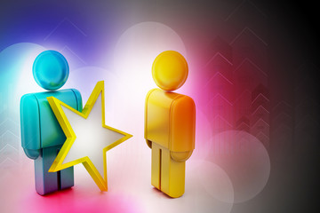 3d people with a golden star in a hand