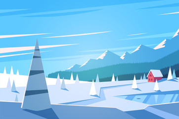 Winter landscape. Vector illustration.