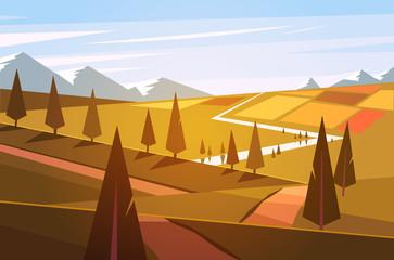 Natural landscape. Vector illustration.