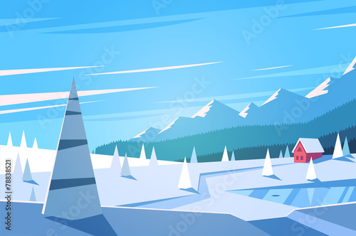 Winter landscape. Vector illustration. - 78838521