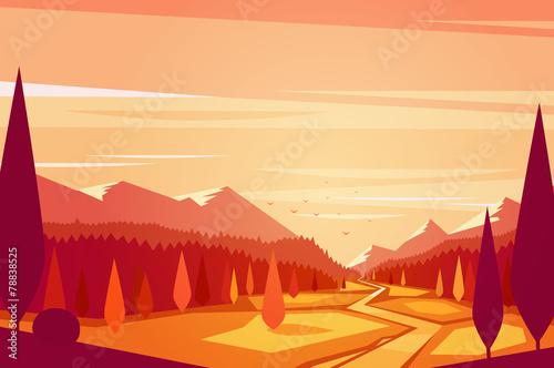 Sunset landscape. Vector illustration. - 78838525