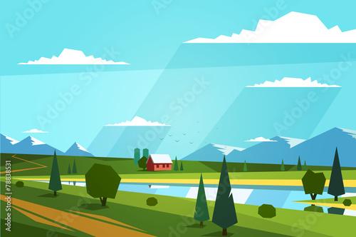 Natural landscape. Vector illustration. - 78838531