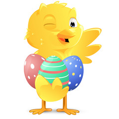 cute chick holding easter eggs