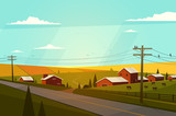 Rural landscape. Vector illustration. - 78838941