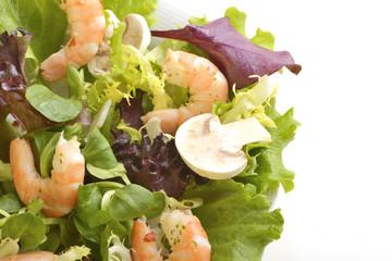 Shrimp and mushroom salad (Detail)