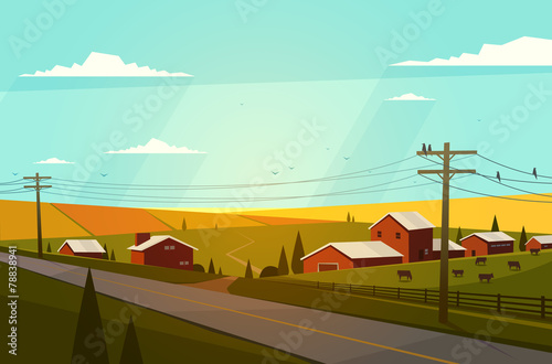 Aluminium Boerderij Rural landscape. Vector illustration.