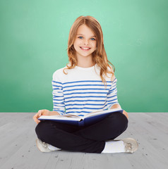 student girl studying and reading book