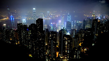 Time Lapse of Hong Kong City and Victoria Harbour at Night from Victoria Peak