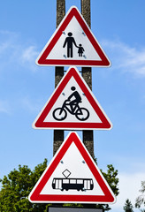 Pedestrian way, bicycle road and tram way road signs