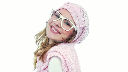 Smile young woman wearing scarf and pullover with cap