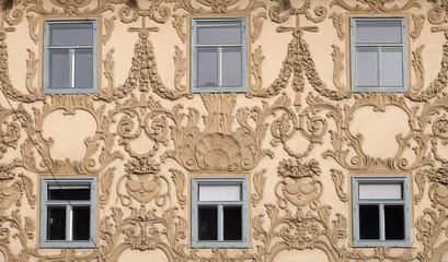 Stucco facade of Luegghaus, Luegg House, Graz, Austria