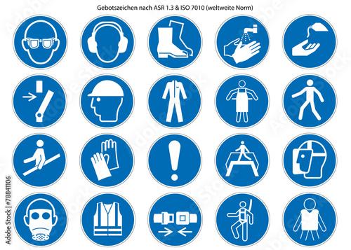 Obowiązkowe znaki ustawione na ASR 1.3 i ISO 7010 nowe