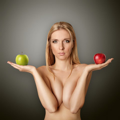 beautiful naked woman with apples