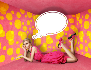 surprised blonde in pink dress with thought bubble