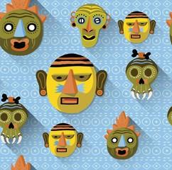 African masks pattern, seamless.