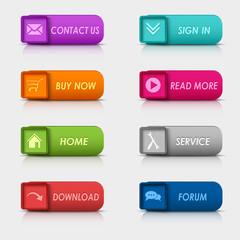 Colored set rectangular square web buttons element