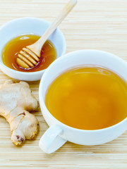 A Cup of ginger tea with honey on wooden background, concept for