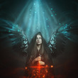 canvas print picture - Fallen angel with black wings