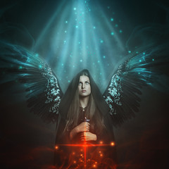 Fallen angel with black wings
