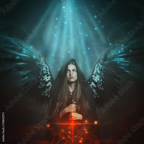 canvas print picture Fallen angel with black wings