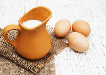 jug with milk and eggs