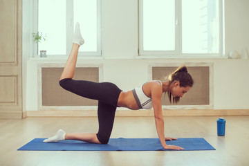 Young dark-haired athletic sporty slim woman doing yoga in the