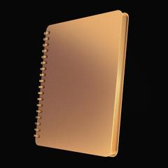 Golden notebook on black  background.