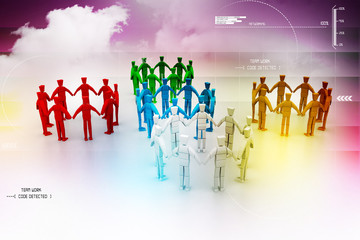 3d people create a circle. Team work concept
