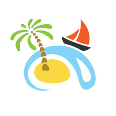 Tropical palm on island with sea and sailboat. Vector logo.