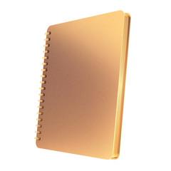 Golden notebook on white  background.