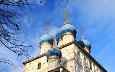 Domes of Russian cathedral in Moscow