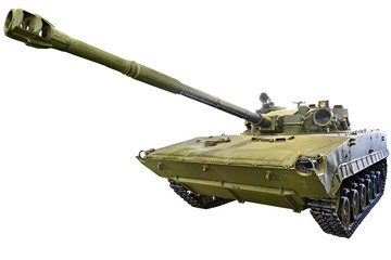 Experienced light amphibious tank sample 685 isolated