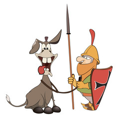 A knight and knightly donkey