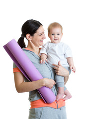 Mother holding baby ready to fitness