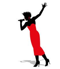 silhouette di cantante