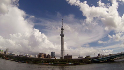 Tokyo Sky Tree and white cloud time lapse