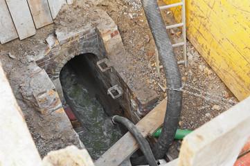 Arbeiten an der Kanalisation und Abwasserumleitung