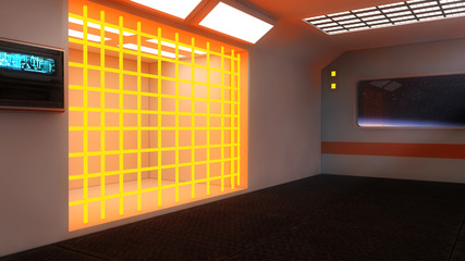 Futuristic Scifi interior architecture and jail