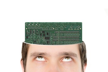 Electronic circuit inside head instead of brain