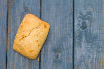 bread on blue background